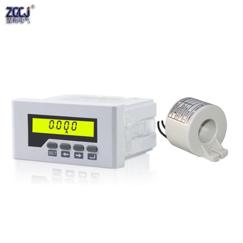 Aletler'ten Akım Ölçer'de Lcd ekran AC 100A 75A 50A 30A ampermetre tek fazlı akım ölçer panel metre akım sensörü