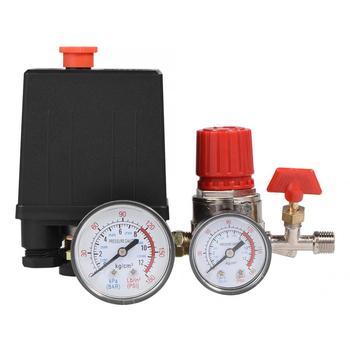 цена на 0.05-1.2Mpa Air Compressor Pressure Switch Control Valve 2-G1/4 Quick Connector Manifold Relief Regulator Valve With G1/8 Gauge