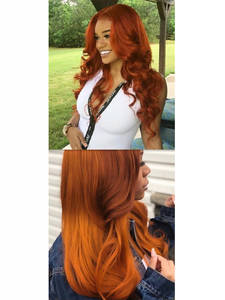 Wigs Human-Hair Orange Colored Natural Blonde Full-Lace Wave Brazilian 180 Density Middle-Part