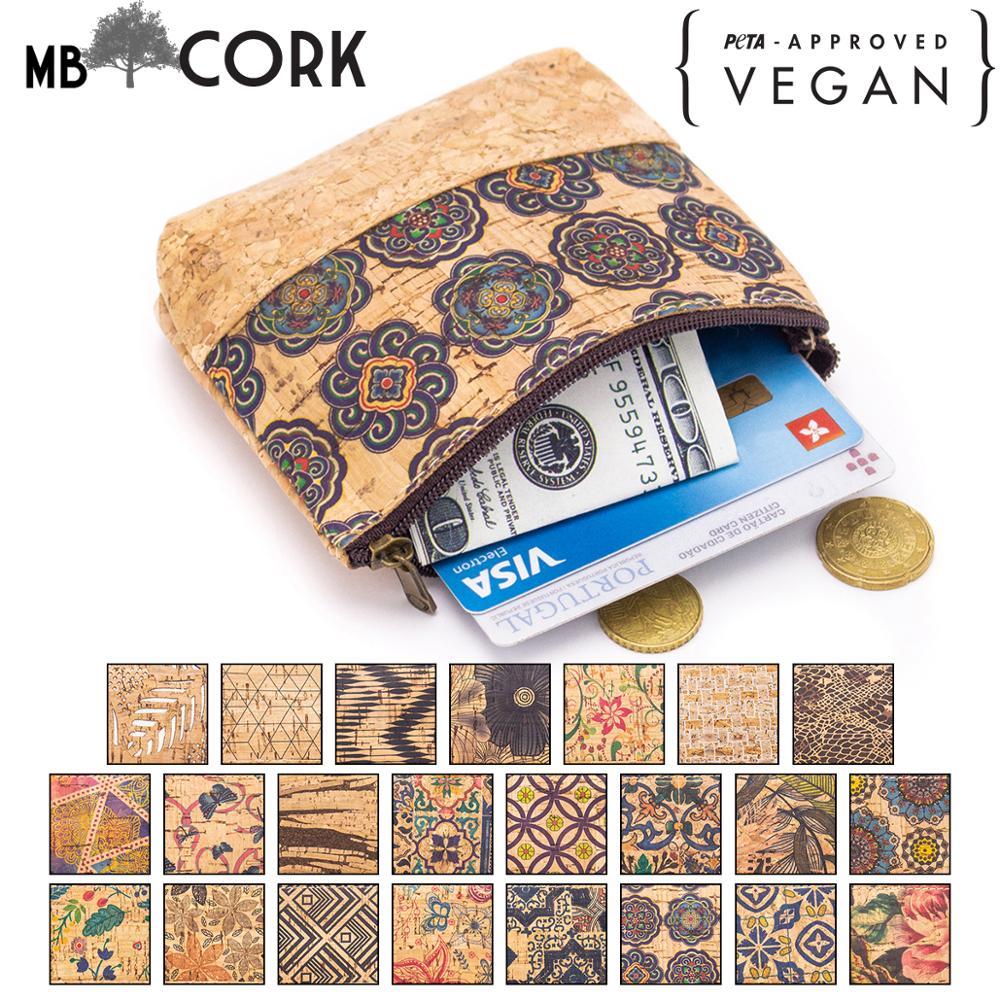 Natural Cork With Pattern Zipper Purse Coin Card Purse BAG-421/A-W