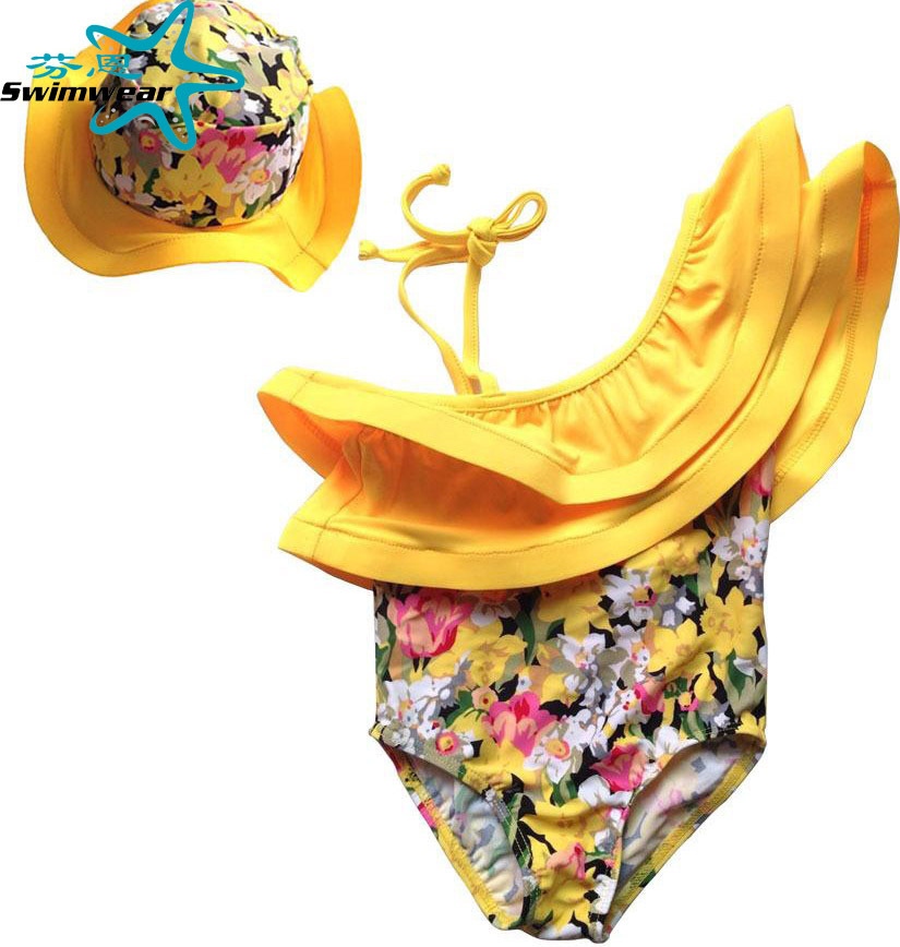 AliExpress Amazon Hot Selling Yellow Floral One-piece Lotus Edge Sloping Shoulder One-piece Swimming Suit