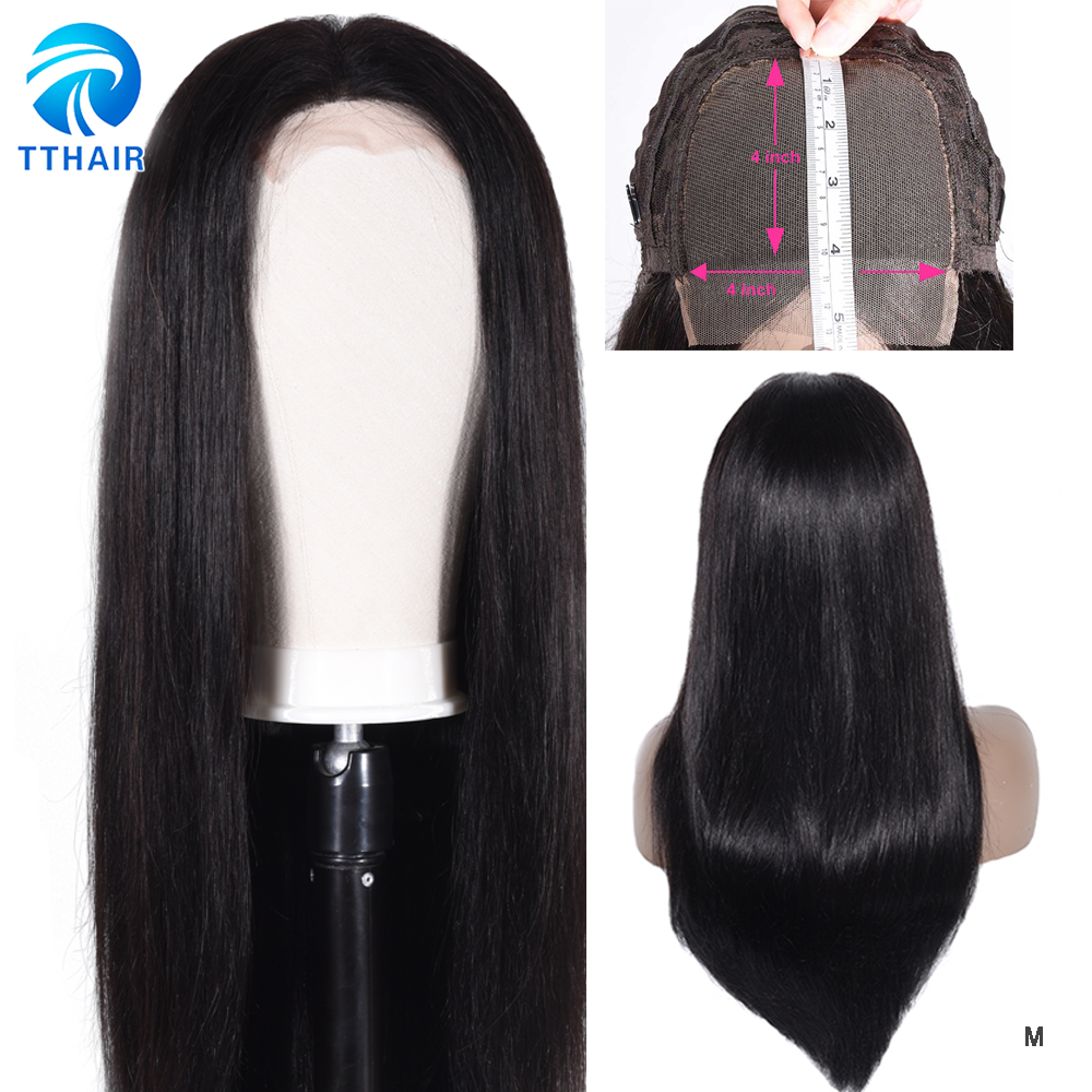 TTHAIR Closure Wig Lace-Wig Density Straight Brazilian 28-Inch Black 4X4 for Woman Remy title=