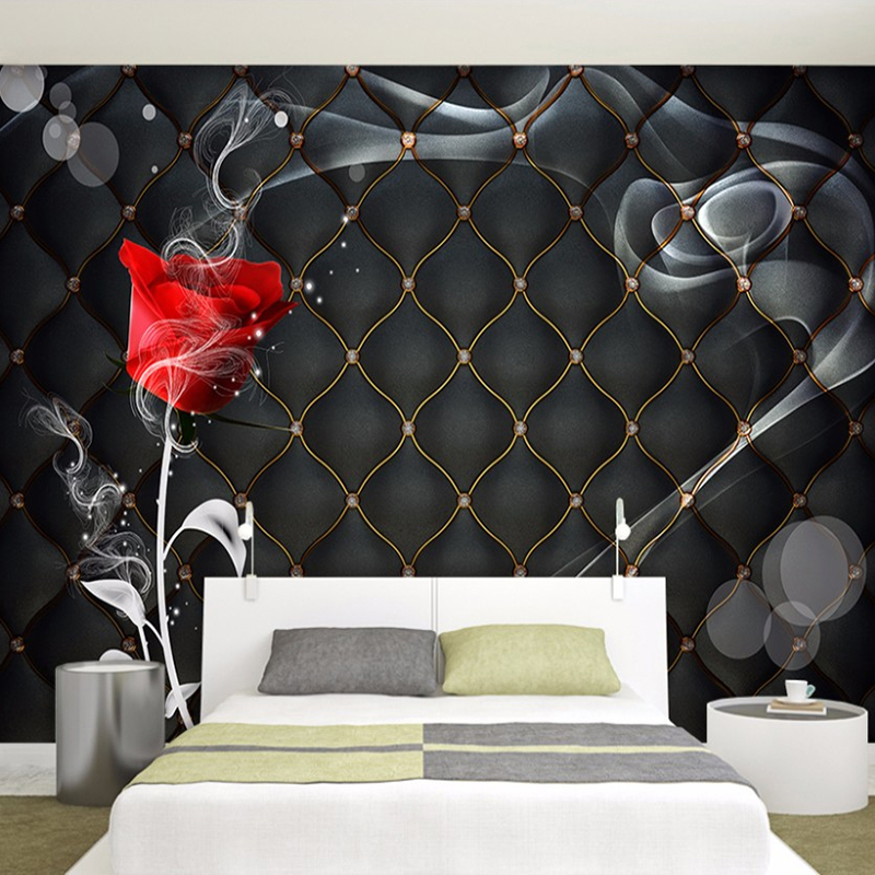 Custom Mural Papel De Parede 3D Rose Flower Black Soft Package Bedroom Living Room TV Background Wall Decor Painting Wallpaper