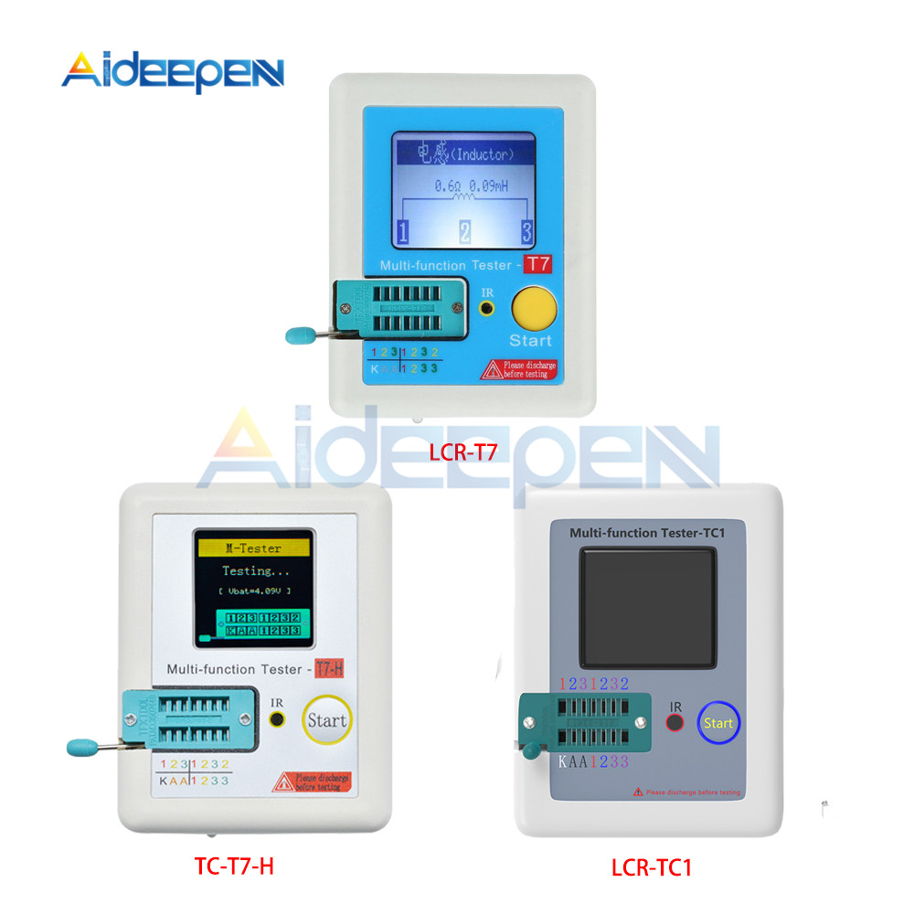 T7 TC-T7-H TCR-T7 LCR-TC1 Transistor Tester ESR Diode Triode Capacitance MOS/PNP/NPN LCR ESR TFT LCD Screen Tester Multimeter