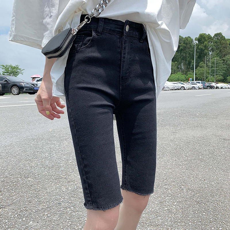 High-waisted Denim Shorts Women's 5 Pants Summer 2019 New Style Outer Wear Tight-Fit Elasticity Cycling Pants Shorts Star Celebr