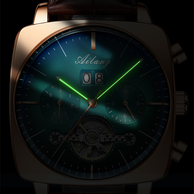 swiss famous brand watch montre automatique luxe chronograph Square Large Dial Watch Hollow Waterproof New mens fashion watches 4