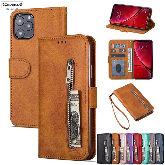 PU Leather Zipper Flip Wallet Cases For iPhone 11 Pro Max X XS MAX XR 6 6s 7 8 Plus Card Slot Stand Phone Cover Coque Etui Mujer