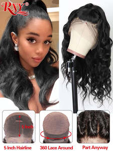 RXY Wig Lace-Wig Human-Hair Brazilian 360 with Baby Body-Wave for Women Remy Black Pre-Plucked