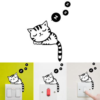 DIY Home Decal Switch Sticker Cartoon Cat Sleeping Living Room Bathroom Decoration Mural Art Wall Decal Removeable Dropship image