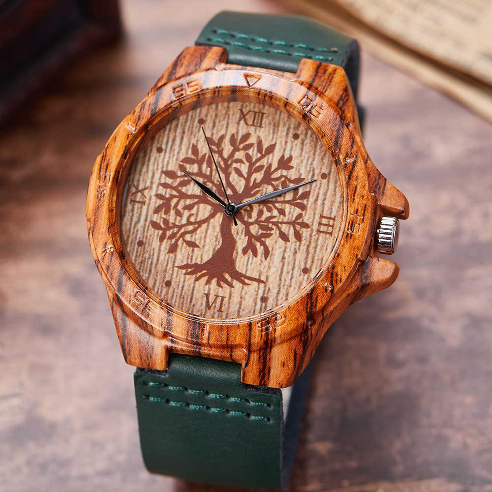 الإبداعية شجرة الحياة تقليد ساعة خشب الرجال النساء الكوارتز تقليد ساعة خشبية لينة حلقة من جلد ساعة اليد الذكور Reloj montre uhr