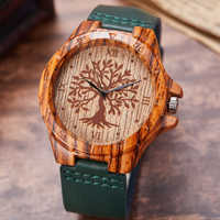 Reloj de imitación de madera de árbol de la vida creativa Reloj de cuarzo de imitación de madera Reloj de pulsera de cuero suave Reloj de pulsera masculino Reloj montre uhr