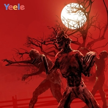 Yeele Halloween Backdrop Red Zombie Forest Moon Night Trick Or Treat Customized Vinyl Photography Background For Photo Studio