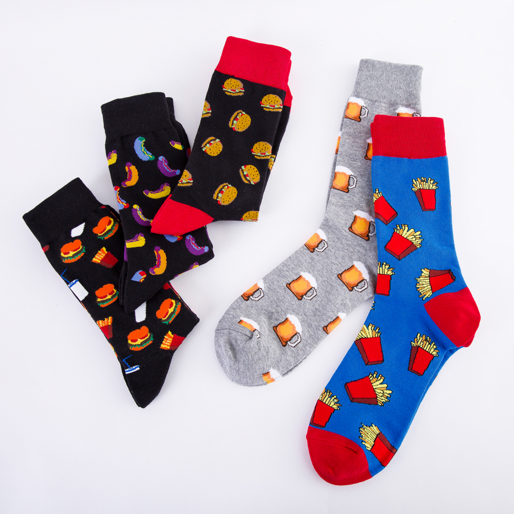 New Fashion Men Socks Funny Cute Cartoon Fruits Hamburger Hotdog French Fries Beer Food Happy Japanese Harajuku Skateboard Socks