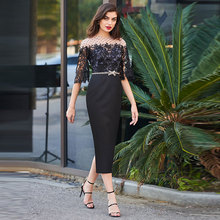 Tanpell Elegant Cocktail Dress Scoop Neck Half Sleeves Button Beading Lace Woman Party Gown Tea-Length Sheath