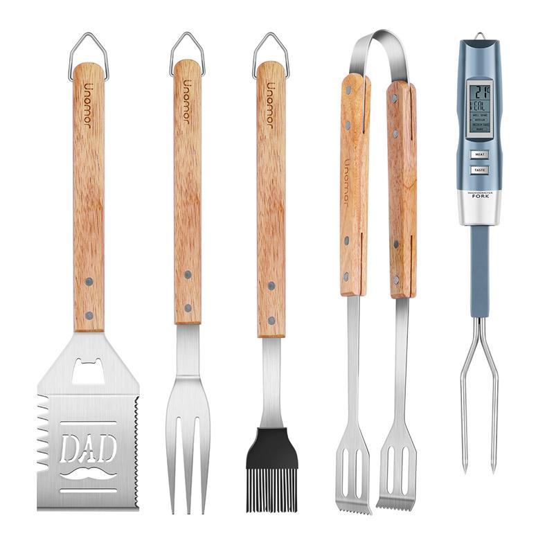 UNOMOR 5 pièces fête des pères en acier inoxydable BBQ outils extérieur Barbecue Grill ustensiles Set cuisine outil