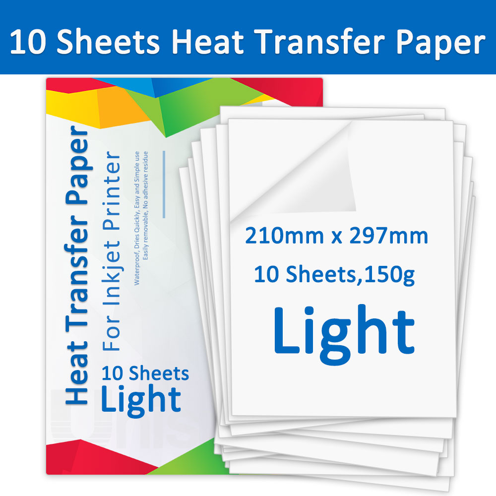 A4 10 Sheets T-shirt Heat Transfer Paper for Light Fabric Cotton Clothes Transfers Printing Photo Paper work for Inkjet Printer