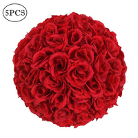 5Pcs 25CM Flower Balls Artificial Rose Head For DIY Wreaths Wedding Event Decoration Home Garden Decorative Supplies Colorful