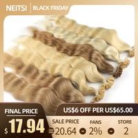 Neitsi Machine Made Remy Human Fusion Hair U Nail Tip Natural Wave Pred Bond Keratin Human Hair Extension 20 1g/s 18 Colors