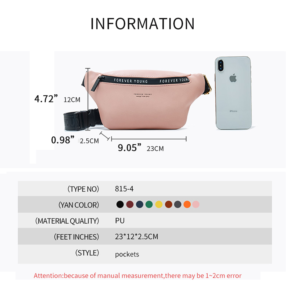 women Waist Bags Phone Pouch Belt Chest Handbag fashion fanny packs Hip Sling sports bag waterproof adjustable PU Leather 2019 in Waist Packs from Luggage Bags