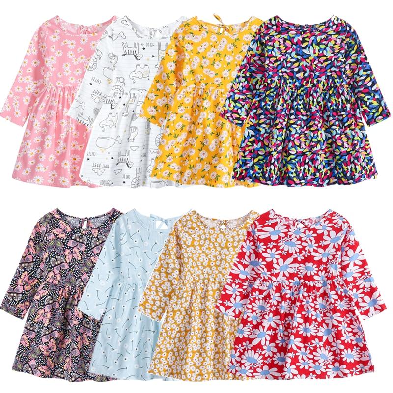 1-8y criança crianças bebê menina outono primavera vestido de manga longa algodão festa vestidos casuais roupas vestidos para meninas