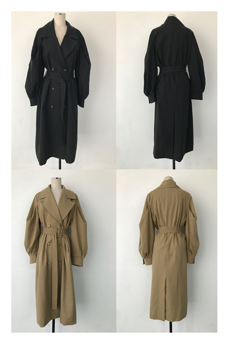 Autumn 19 Woman khaki Long Trench Coat British Style Vintage Puff Sleeve Long Dust Coat Elegant Waist Bandage Windbreaker 12