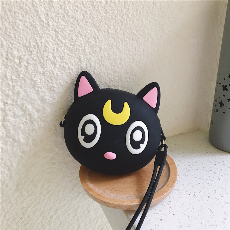 Q UNCLE Creative Coin Bag Kawaii Wallet Dib Purse Women Girls Pocket Zipper Silicone Crossbody Pouch Handbag Round Kiss Bear Bag