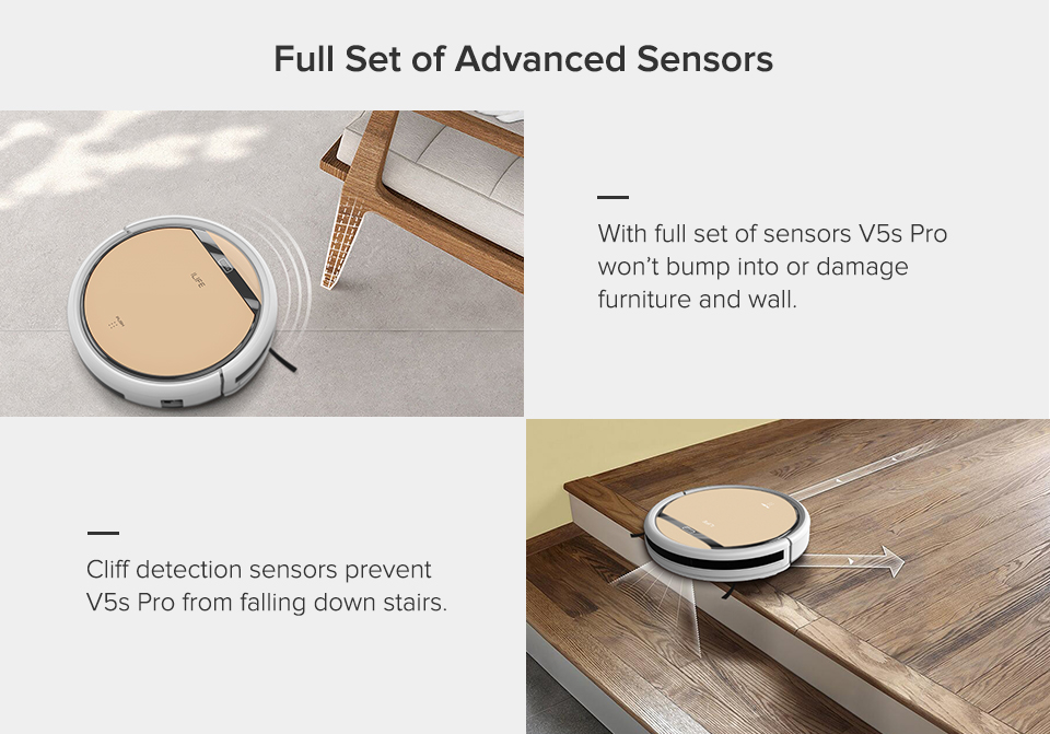 H6240851dafb94dbfb7fa6335d3645ff7E ILIFE V5sPro Robot Vacuum Cleaner vacuum Wet Mopping Pet hair and Hard Floor automatic Powerful Suction Ultra Thin disinfection