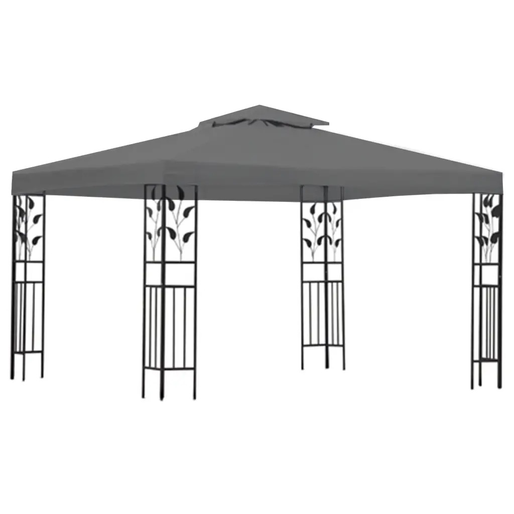 VidaXL Gazebo Anthracite Sturdy Steel Construction Polyester Roof Reinforced Corners 400 X 300 X 273 Cm Spacious Gazebo V3