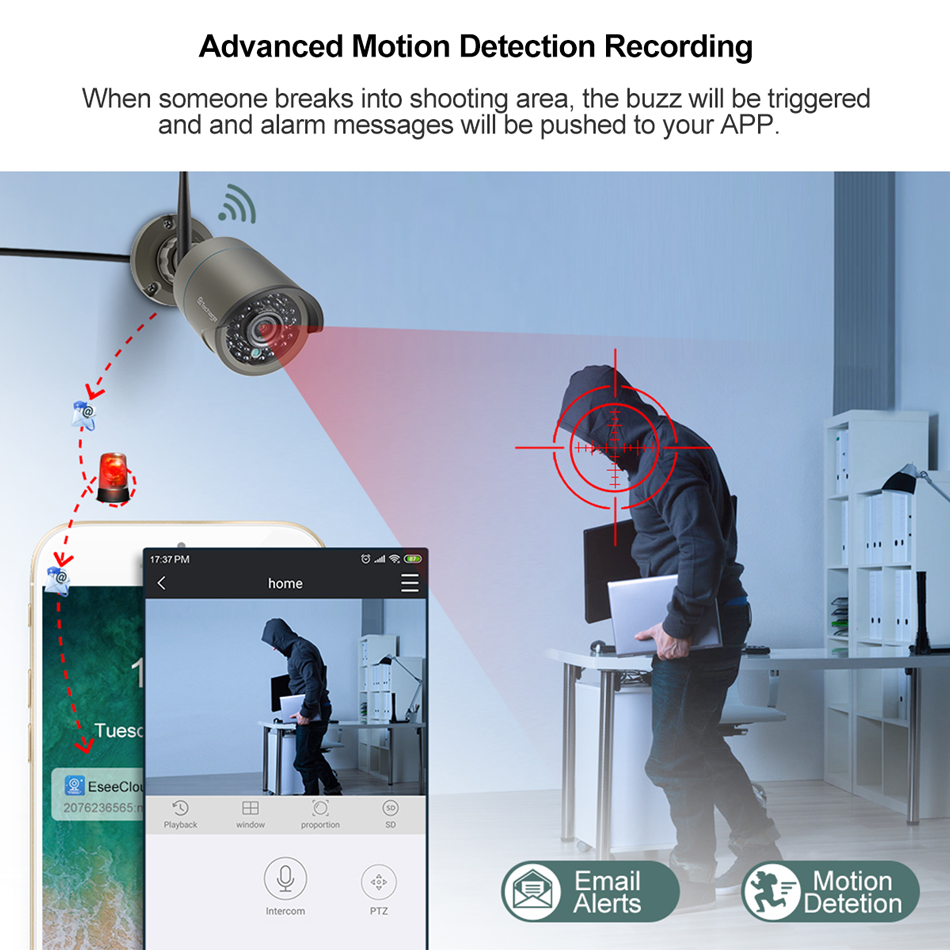 Techage H.265 8CH 1080P Wireless NVR Kit CCTV Security System 2MP IR-CUT Outdoor Audio Wifi Camera P2P Video Surveillance Set