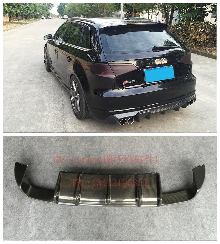 Carbon Fiber Car <font><b>Rear</b></font> Trunk Lip Bumper <font><b>Diffuser</b></font> Protector Cover Fits For <font><b>AUDI</b></font> <font><b>A3</b></font> S3 RS3 S-LINE Hatchback Sportback 2014-2017 image
