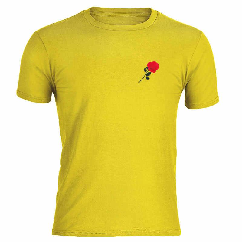 2019 ฤดูร้อน Rose Mens เสื้อยืดแขนสั้น O-คอ Cotton Soft Breathable Hi-street Hip Hop Tshirt ผ้าฝ้าย Tee เสื้อสีเหลืองสีเขียว