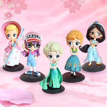 13CM Q Posket Doll Arale Anna Elsa Princess Jasmine Shepherdess PVC Action Figure Toy Doll Girl Christmas Birthday Gift q posket characters the little mermaid princess ariel pvc figure collectible model toy 11cm