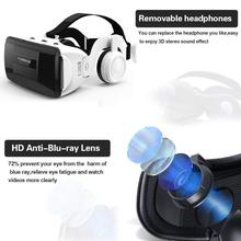 3D VR Glasses with Stereo Hifi Headphones Virtual Reality 3D Glasses Handle Cardboard Headset for Smartphones