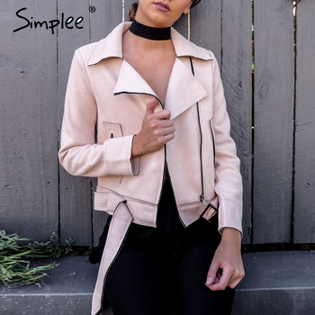 Simplee Vintage fashion zipper basic suede jacket coat 2018 motorcycle jacket Women outwear Pink belted short
