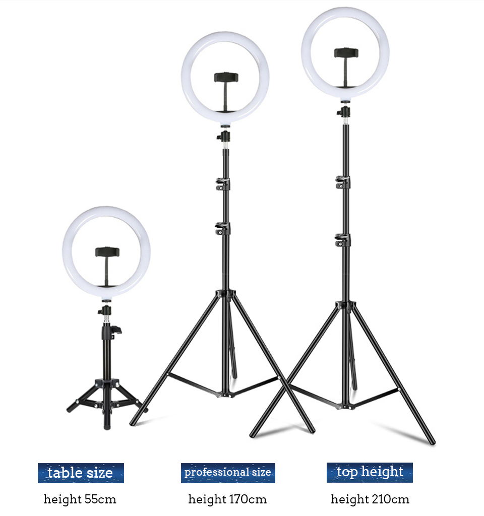 H6240f0cd0c6f48dab9d5b1ee0274a0bfj WalkingWay 18 inch LED Ring Light with Tripod Dimmable Photographic Lighting Studio Video light for tik tok Makeup Youtube Live