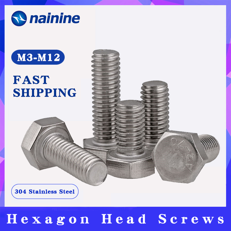 FAS M8x25 10 Pieces M8-1.25 X 25 Hex Head Cap Screw Hex Bolts DIN933 Full Thread A2-70 Stainless Steel