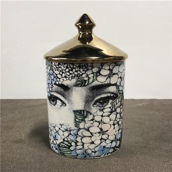 Lady Face Candle Holder Human Face Jar Candelabra Retro Storage Bin Ceramic Cafts Home Decoration Jewerlly Storage Box 25