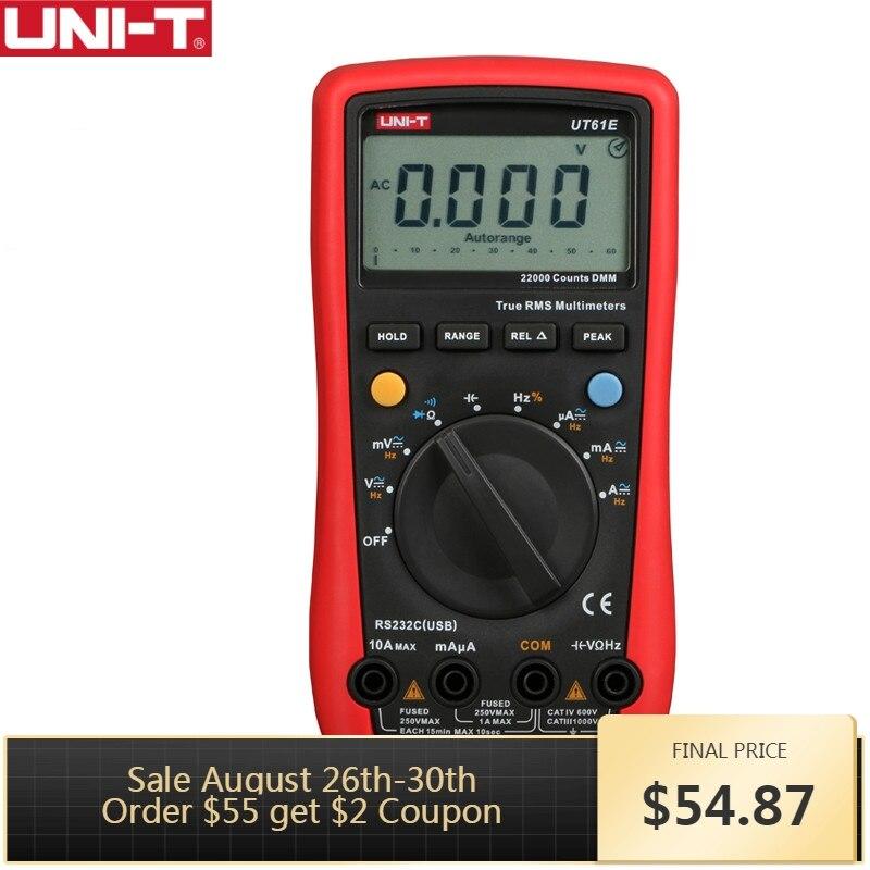 UNI-T UT61E Alta Confiabilidade Digital Multímetro Medidor PC Ligar AC DC Tensão de Modo Relativo 22000 Contagens De Retenção de Dados