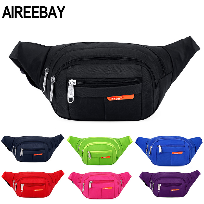 AIREEBAY Women Waist Pack Casual Functional Fashion Men Waterproof Fanny Pack Female Belt Bum Bag Male Phone Wallet Pouch Bags