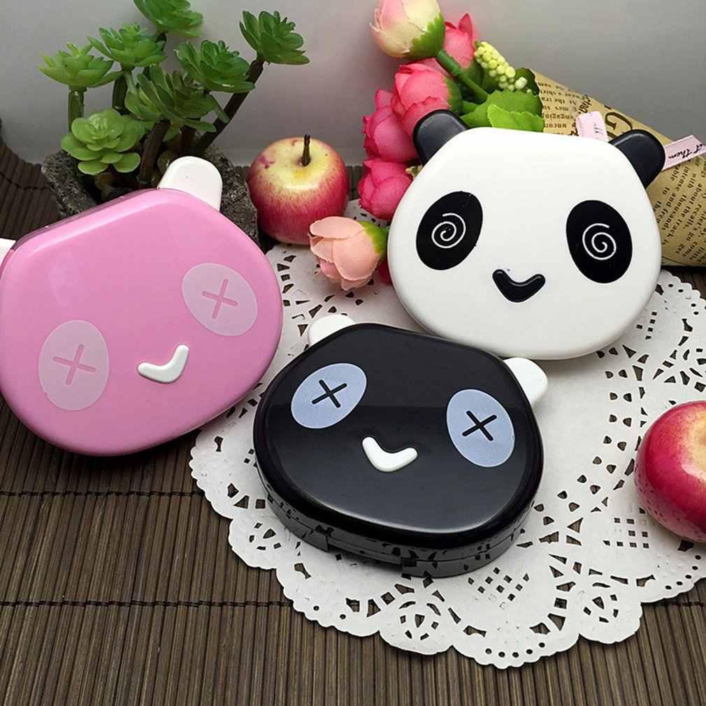 Carino Panda Scatola di Lenti a Contatto 6001 La Cura Degli Occhi Kit Portatile Scatola di Lenti a Contatto da Viaggio a Casa Scatola di Immagazzinaggio Dello Specchio