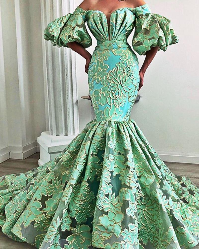 Long Sexy African Women Evening Dresses 2020 Mermaid Half Sleeve Arabic Mint Green Lace Dubai Formal Gowns