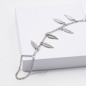 Silver Color Leaf Chain Anklet Bracelet Barefoot Sandal Beach Foot Jewelry Bohemian Gold Color Chain Ankle Bracelet on The Leg 1