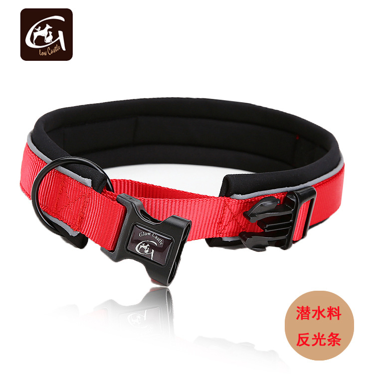 Glow Castle Pet Collar Outer Nylon Tape Reflective Strips Neck Ring Dog Neoprene Collar