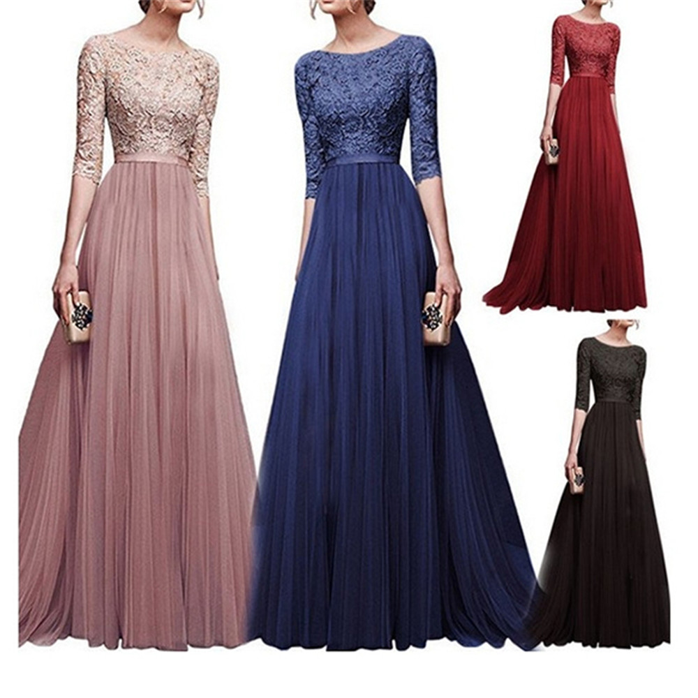 Wipalo 2019 Elegant Half Sleeve Chiffon Lace Stitching Floor Length Maxi Women Party Prom Formal Dress Plus Size Vestidos Robe