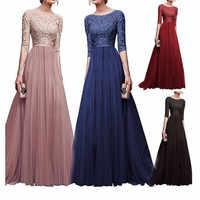 Wipalo 2019 Elegant Half Sleeve Chiffon Lace Stitching Floor Length Maxi Women Party Prom Formal Dress Plus Size Vestidos Robe