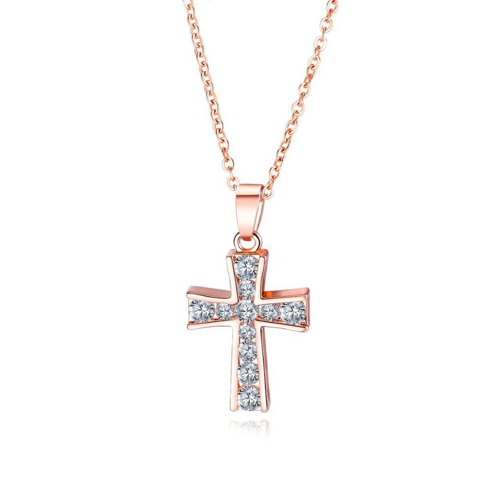 OPK bijoux tendance européenne et américaine dames collier croix en or Rose accessoires haut de gamme