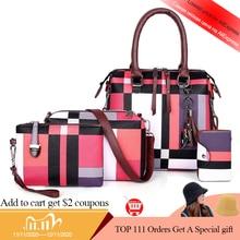 SMOOZA Luxury Handbags Plaid Women Bags Designer 2020 Tassel Purses Top Handle Bags Set 4 Pieces Bags Female Bolsa Feminina