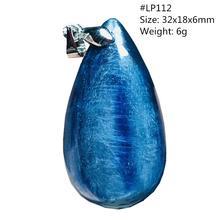 En doğal mavi kiyanit boncuk kolye için kadın bayan adam kristal 31x17x6mm kedi gözü taş gümüş kolye kolye takı AAAAA