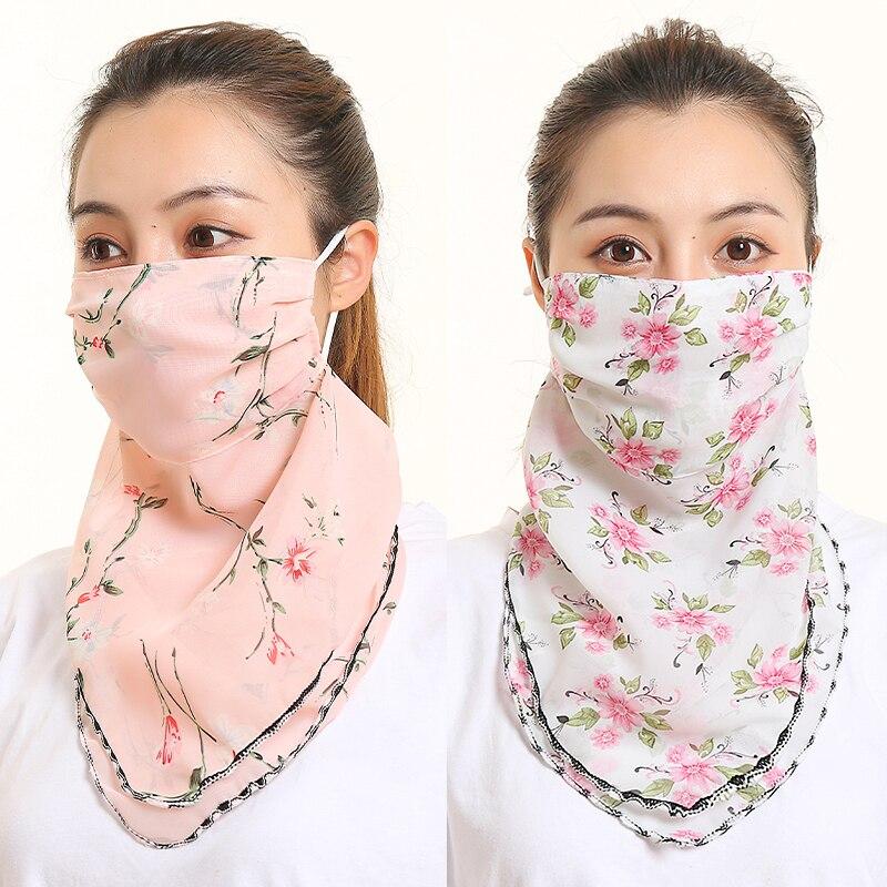 Women Face Mask For Women Chiffon Soft Sunscreen Scarf Shawls Lady Foulard Silk Neck Scarves Outdoor Windproof Masks 2020 New