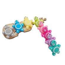 Chenkai 50 Stuks Siliconen Schildpad Kralen Baby Dier Vorm Van Mini Schildpad Tandjes Bpa Gratis Diy Zuigeling Verpleging Speenketting clips
